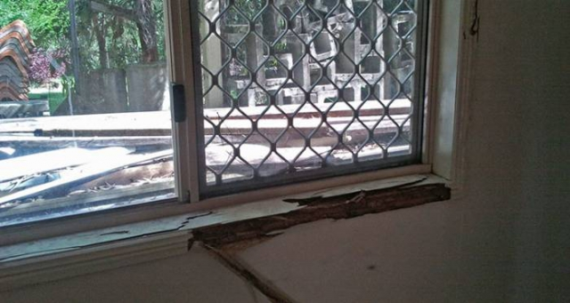 Termite damage to window sill
